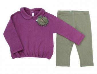 IL GUFO Jersey-Set für Mädchen Lila-Khaki