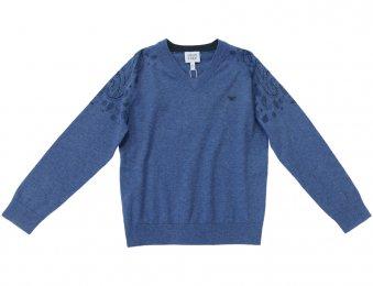 ARMANI JUNIOR Pullover mit V-Ausschnitt in Jeansblau