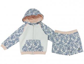 ARMANI JUNIOR Kapuzenjacke mit Shorts in Weiß & Blau