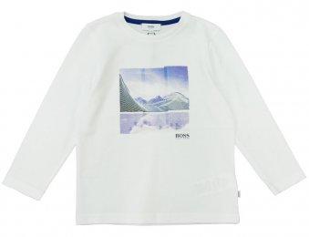 HUGO BOSS Kids Langarmshirt mit Frontdruck Weiß