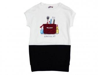 MONNALISA Jerseykleid mit Applikationen in Weiß-Blau