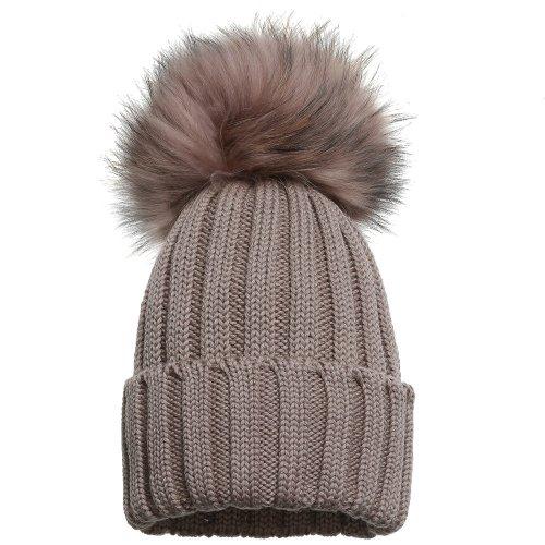 CATYA Girls Wool Beige Fur Pom-pom Hat
