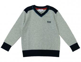 HUGO BOSS Kids Pullover mit V-Ausschnitt Grau