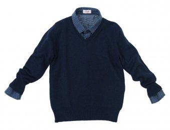 IL GUFO Jungen Kaschmir Pullover Blau