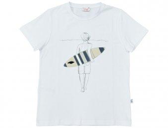 IL GUFO T-Shirt mit Surfer-Print in Weiß