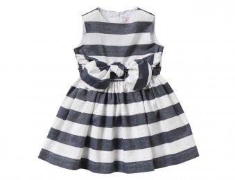 IL GUFO Sommerkleid mit 3D-Schleife in Weiß-Blau