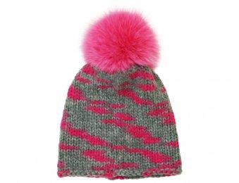 CATYA Mütze mit Echtfellbommel in Grau-Pink