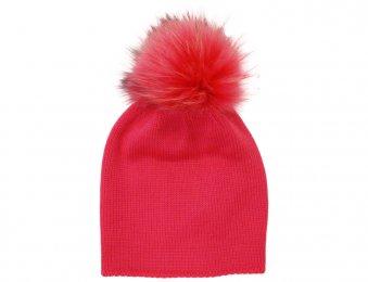CATYA Mütze mit Echtfellbommel in Pink
