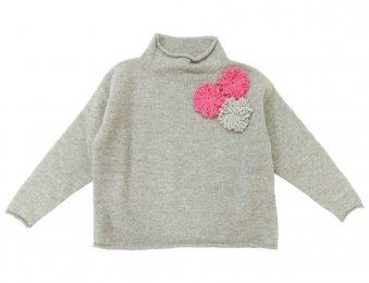 IL GUFO Pullover mit 3D-Blumen in Grau-Rosa