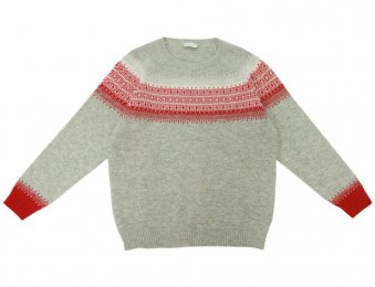 IL GUFO Pullover mit Norweger-Muster in Grau-Rot