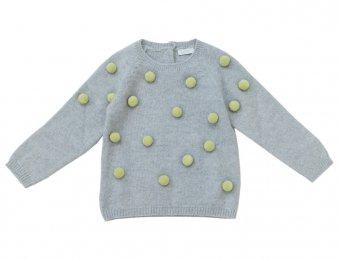 IL GUFO Pullover mit Noppen in Grau-Grün