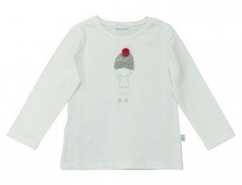 IL GUFO Langarmshirt mit Applikation für Mädchen in Creme