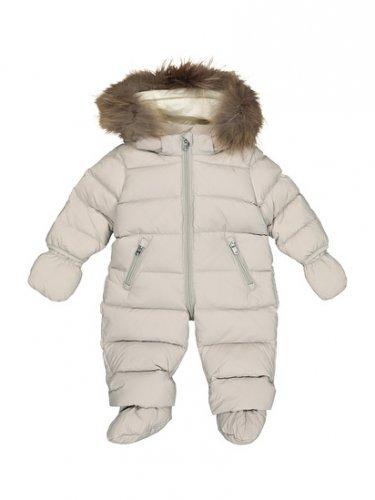 EDDIE PEN Baby Daunen Overall Schneeanzug in Graubeige