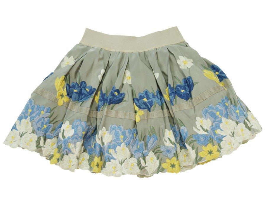 c4dba20c4698c MONNALISA Girls Beige Floral Taffeta Skirt