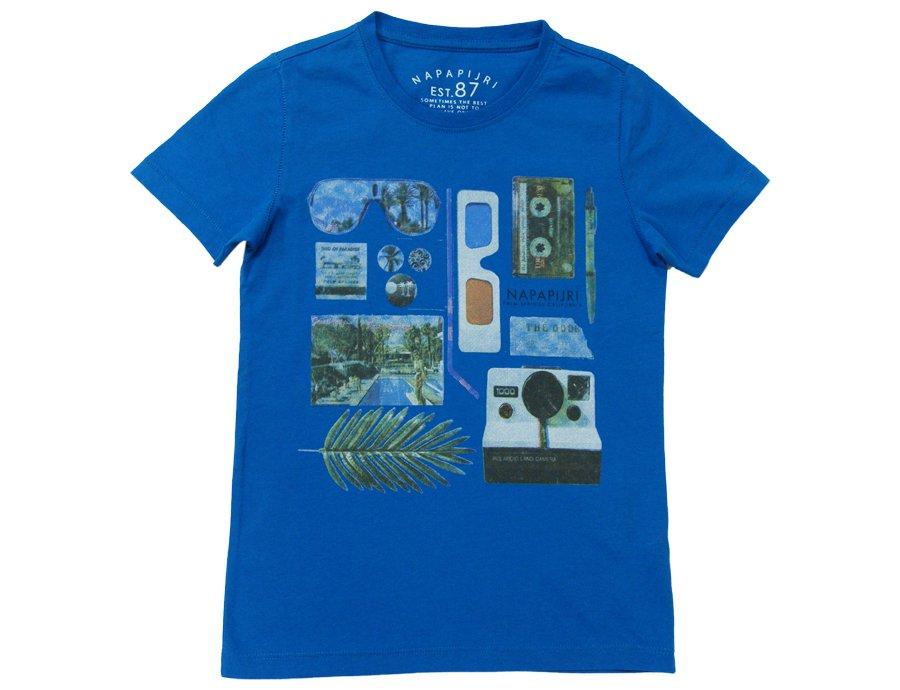 bc3a644b28c NAPAPIJRI KIDS Boys Blue Cotton T-shirt Print