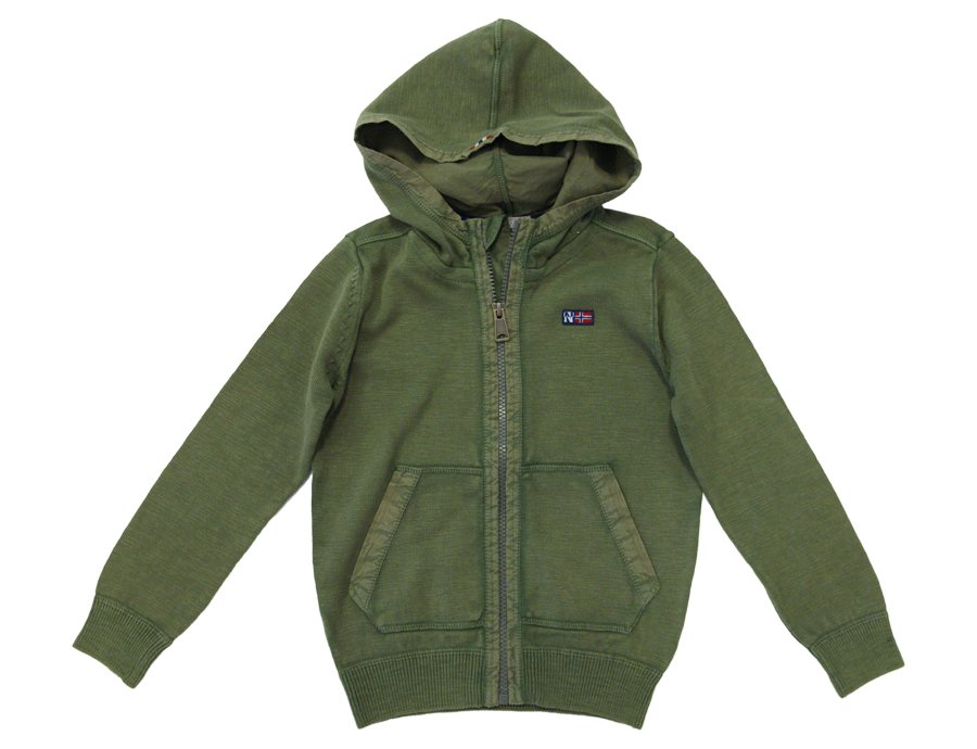 NAPAPIJRI KIDS Boys Green Hooded Sweat Jacket