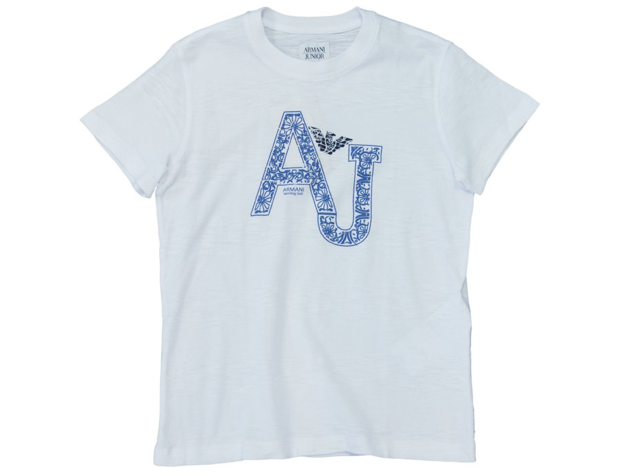 2ada9e9d ARMANI JUNIOR Boys White Cotton AJ T-Shirt