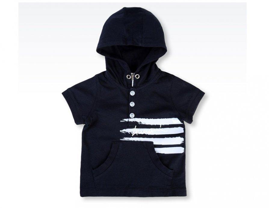 cd92fb212934 ARMANI BABY Boys Navy Blue Summer Cotton T-Shirt