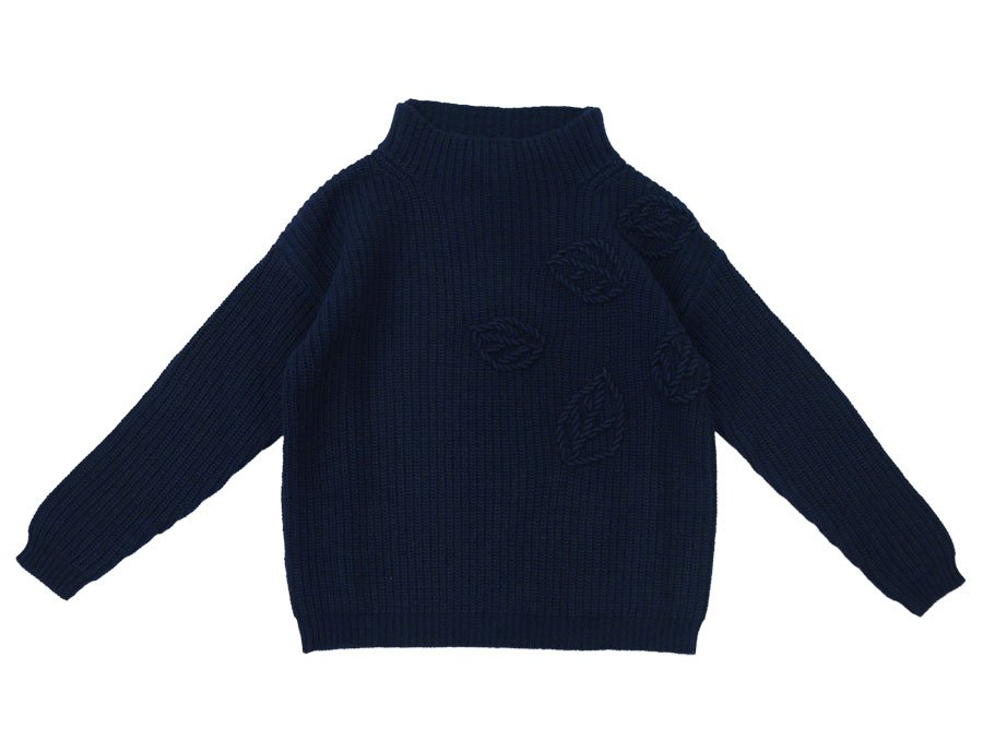 IL GUFO Girls Navy Blue Cashmere Sweater