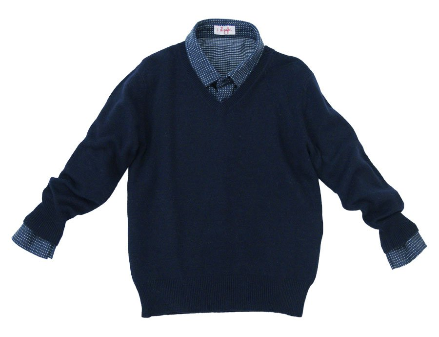 785fb44fa IL GUFO Boys Navy Blue Cashmere Sweater