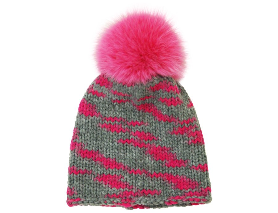84bdf041fe9 CATYA Girls Gray-Fuchsia Pompom Hat