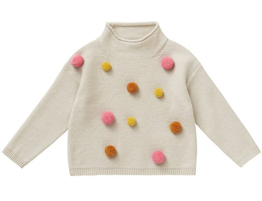 09acde83e IL GUFO Girls Beige Wool Sweater with 3D Pompons