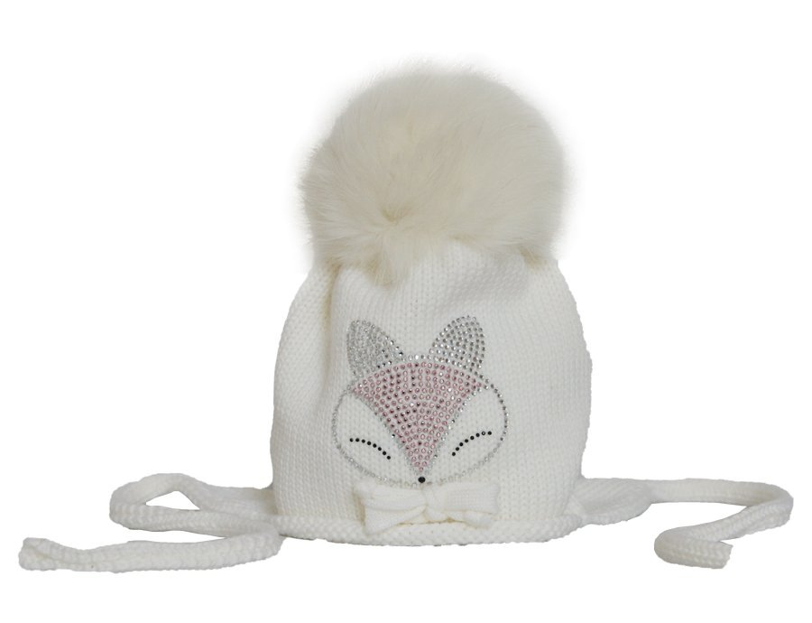 335f941a8e6 CATYA Girls Ivory Fur Pom-Pom Hat with Glitterstones