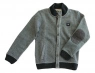 ARMANI JUNIOR Strickjacke mit Lederansatz