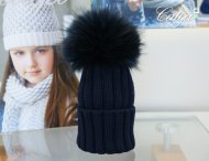CATYA Girls Navy Pompom Hat