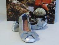 ELI Ballerinas mit 3D-Schleife Silber-Grau