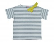 IL GUFO Sommer Shirt mit 3D-Schleife Weiß-Grau
