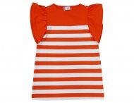 IL GUFO Jersey Kleid mit Flügelärmelchen Weiß & Orange