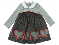MONNALISA Girls Gray Taffeta Dress with Floral Embroidery