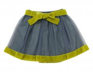 IL GUFO Girls Gray & Green Tulle Skirt with Velvet Elements