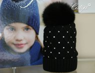 CATYA Girls Black Pom-Pom Hat with Rhinestones