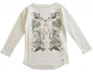 LU LU Langarmshirt mit Print & Glitzersteinen Weiß