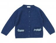 IL GUFO Baby Girls Navy Blue Cashmere Cardigan