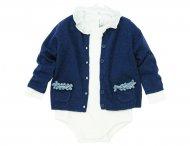 IL GUFO Baby Kaschmir Strickjacke mit 3D-Schleifen Blau