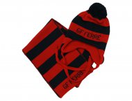 GF FERRE Boys Red & Blue Wool Hat with Scarf