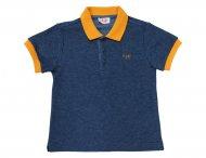 IL GUFO Sommer Poloshirt für Jungen Blau Melange & Orange