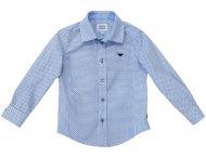 ARMANI JUNIOR Langarmhemd mit Tupfenmuster in Weiß & Blau