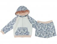ARMANI JUNIOR Kapuzenjacke mit Shorts in Weiß & Blau