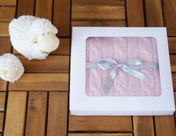 MINI CASHMINI Pink Cashmere Baby Blanket with Cable Pattern