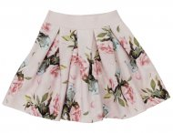 MONNALISA Girls Pink Skirt with Flowers Pattern