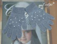 CATYA Handschuhe mit Glitzersteinen in Grau