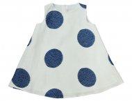 IL GUFO Leinenkleid mit Tupfen in Weiß-Blau