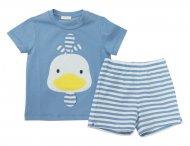 IL GUFO Jersey T-Shirt mit Shorts in Weiß-Blau