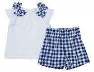IL GUFO Sommer Shirt mit Shorts in Weiß-Blau