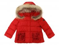 IL GUFO Girls Red Down Jacket with 3D Bows