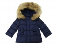 IL GUFO Girls Navy Blue Down Jacket with 3D Bows